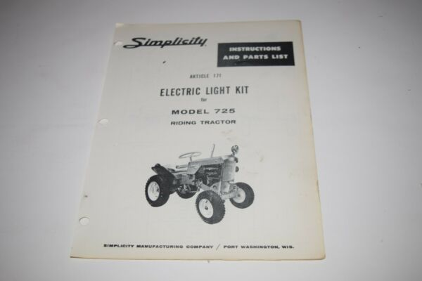 Simplicity Electric Light Kit for Model 725 Installation Instructions Parts List