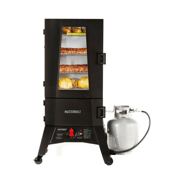 Masterbuilt ThermoTemp 40 Inch Upright 4 Rack Propane Smoker Black For Parts $229.99