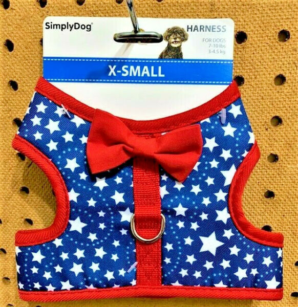 SIMPLY DOG Blue amp; Red 4th of July Patriotic Stars Dog Puppy Harness XS $9.99