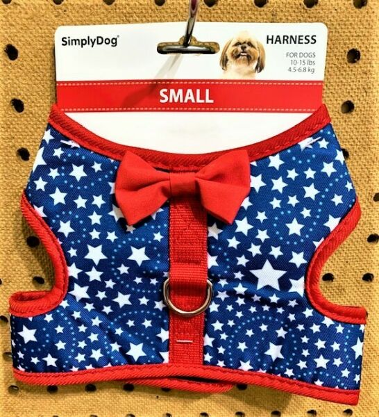 SIMPLY DOG Blue amp; Red 4th of July Patriotic Stars Dog Puppy Harness Size S $9.99