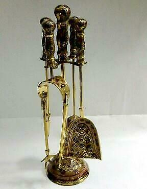 Solid Brass 17quot; Tall 5 Pcs FIREPLACE TOOL SET with Etched Design HOME DECOR New