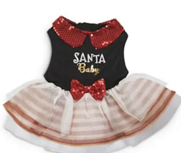 HOLIDAY TAILS BLACK RED SEQUINS quot;SANTA BABYquot; CHRISTMAS DRESS Puppy Dog SMALL $18.50