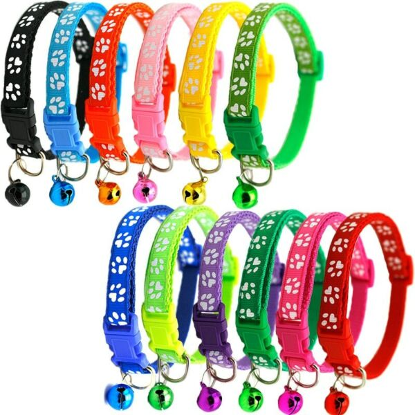 Adjustable Pet Collar Dog Cat Small Puppy Safety Buckle Collars Colourful Bell $1.99