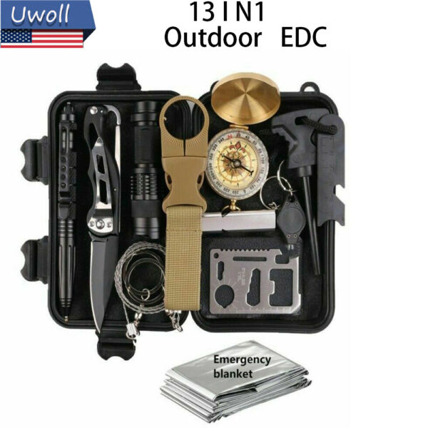 Survival Kit 13 IN 1 Emergency Tactical Defense Equipment Outdoor Camping Tools