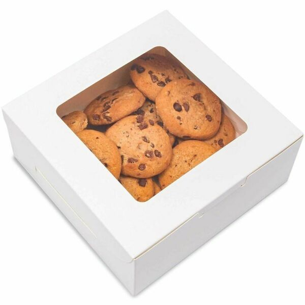 50x Pastry Bakery Box with Window for Cookies Cupcakes Donuts Muffins 6x6x2.5quot;