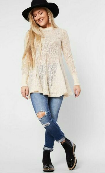 Free People Boho Hippie Lace Coffee in the Morning Tunic Top Medium NWT $128