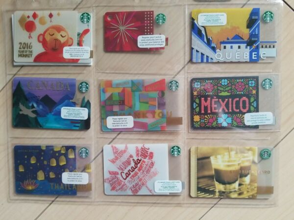 ASSORTED Starbucks Country non US Cards Lot of 9 NINE