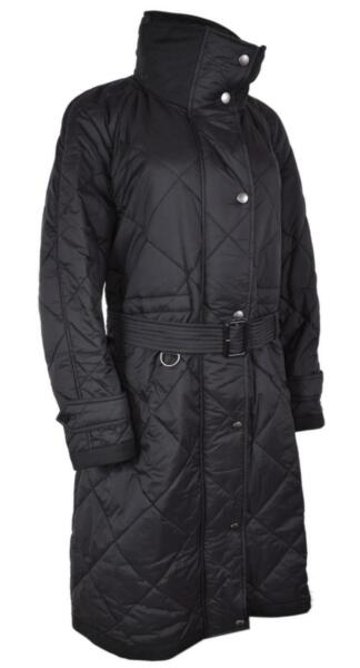 New Burberry Women#x27;s $990 Black MELMORE Diamond Quilted Long Coat Jacket XL $535.50