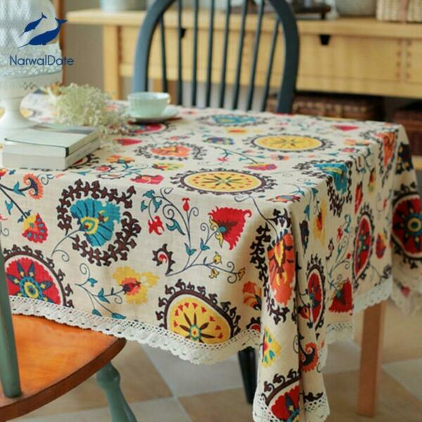 Classical Cotton Linen Tablecloths Rectangle Sunflower Printing Table Cloth Lace