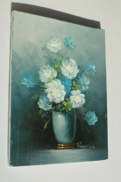 VINTAGE FRENCH OIL ON CANVAS PAINTING STILL LIFE FLOWERS ROBERT COX