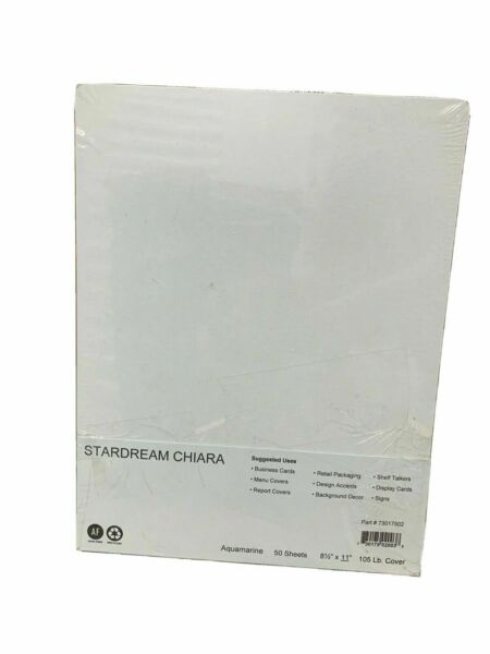 Stardream Chaira Aquamarine Cover 8.5quot;x11quot; Card Stock Paper 50 Sheets
