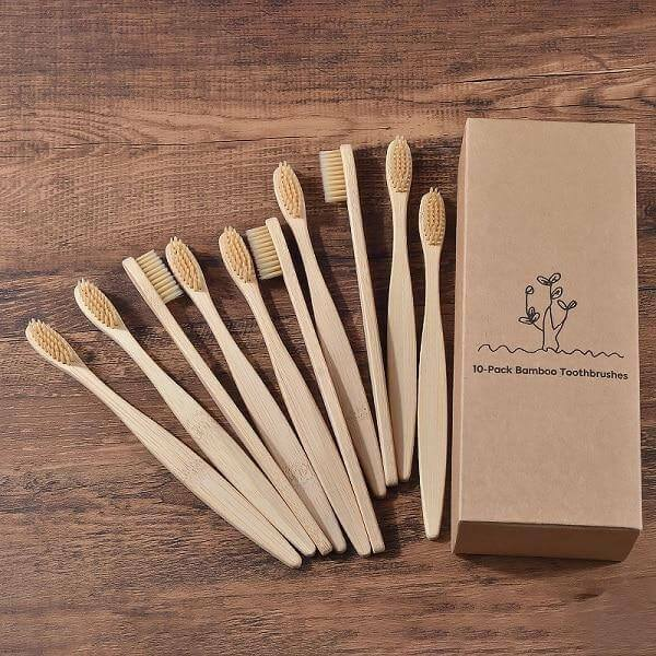 10 Pack Bamboo Toothbrush Biodegradable Natural Wooden Eco Friendly Brand New $11.72