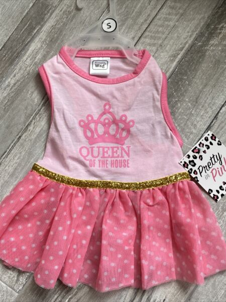 SIMPLY WAG Pink DRESS quot;QUEEN OF THE HOUSEquot; Puppy Dog small $16.50