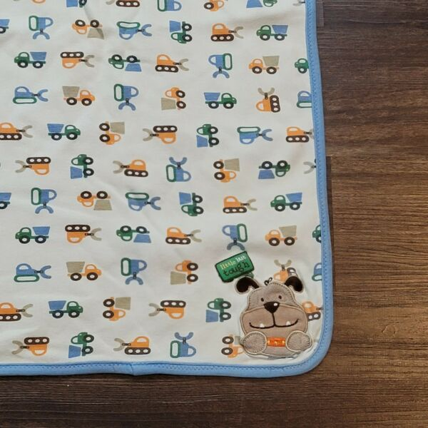 Carters Just One Year Baby Blanket Little but Tough Dog Tractor Blue Green lovey $26.96