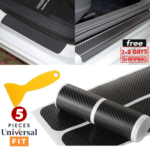 4X Accessories Carbon Fiber Car Door Plate Sill Scuff Cover Anti Scratch Sticker $6.95