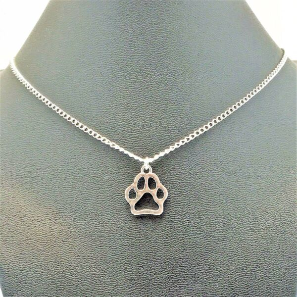 Dog Paw Charm Necklace Pet Sterling Silver plated Chain Link Women#x27;s Jewelry $9.99
