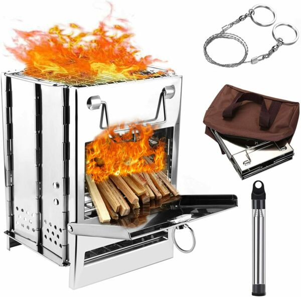 Portable Folding Camp Stove Stainless Steel Wood Burning with Pocket Fire Bellow