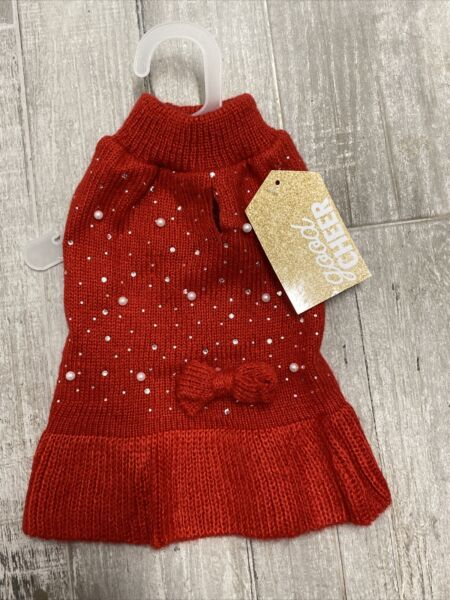 GOOD CHEER Red with PEARLS VALENTINES DAY SWEATER DRESS Puppy Dog small $18.50