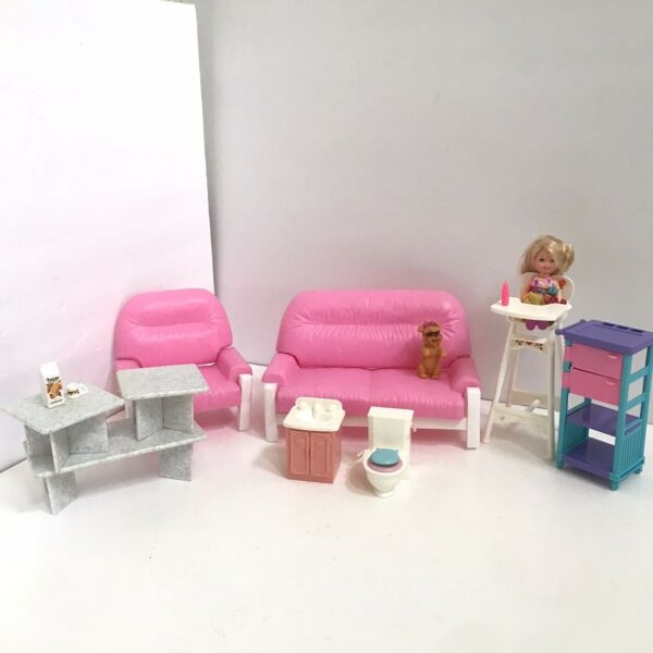 Skipper Babysitters Inc KELLY TODDLER DOLL w HIGHCHAIR SINK TOILET DOG FURNITURE $24.00