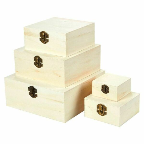5 pcs Wooden Boxes Hinged Lid Nesting Boxes Unfinish Wood Natural Wood Small