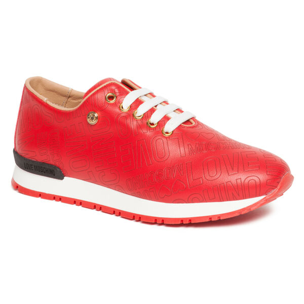 Love Moschino Red Lace Up Fashion Sneakers $129.99