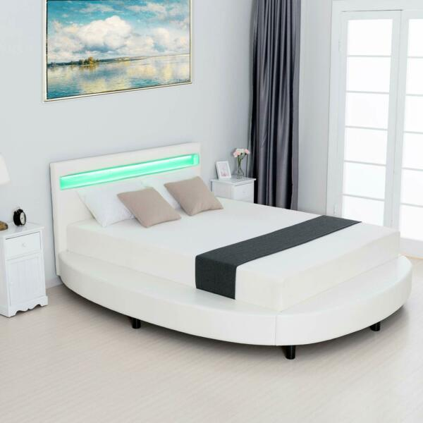 Round LED Bed LED Lighted Headboard Upholstered Faux Leather Bed Frame White $562.99