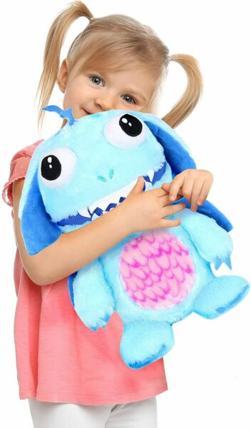 BLUE WORRY YUMMY MONSTER LARGE CUDDLY SOFT TOY PLUSH ZIPPER TEDDY EATS WORRIES GBP 12.99