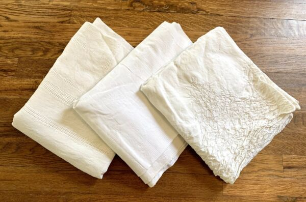 Genuine Vtg Lot of 3 White Linen Tablecloths Crocheted Lace Small Medium