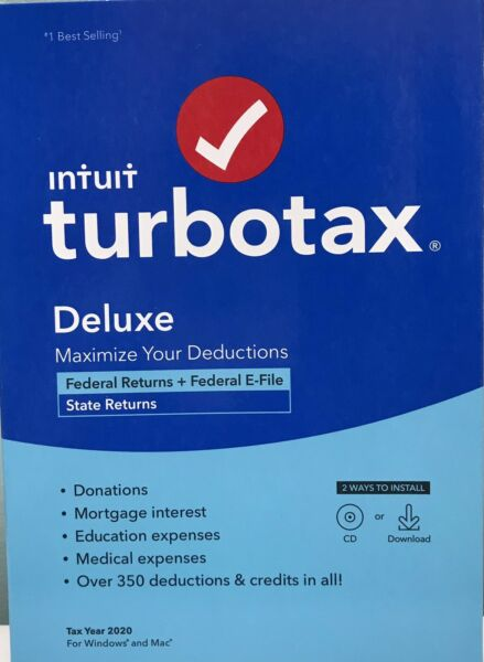 INTUIT TURBOTAX DELUXE 2020 FEDERAL amp; STATE RETURN DISC INSIDE NEW