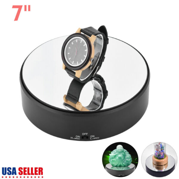 Rotating Display 7#x27;#x27; Stand Battery Powered Jewelry Watch Phone Artwork Turntable