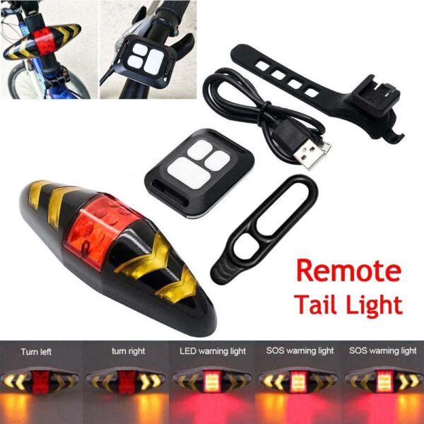 Wireless Bicycle LED Tail Light Rechargeable Bike Rear Turn Signals Lamp Remote $13.94