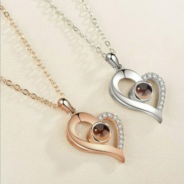 Valentines Day Jewelry Gift 100 Languages Says I love You Heart Necklace Women $9.94