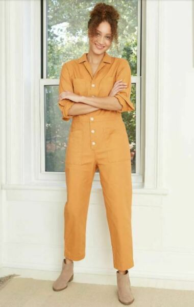 Universal Thread Women#x27;s Collared Boiler Suit Gold 18W NWT SHIPS FREE $20.00