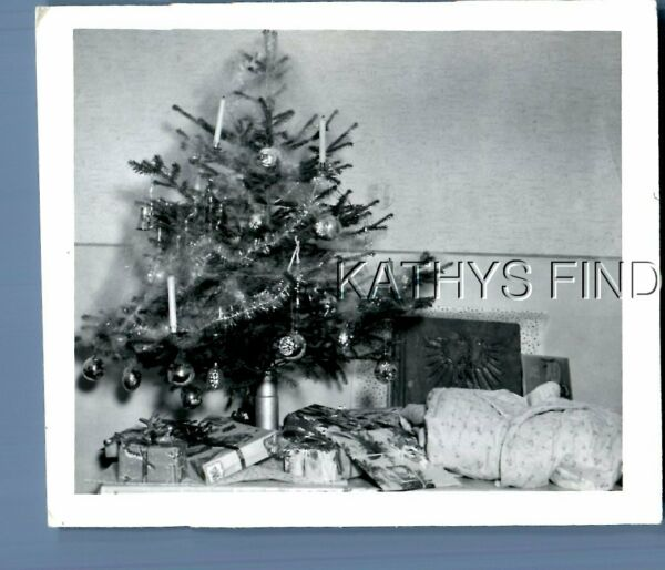 FOUND Bamp;W PHOTO E1817 VIEW OF PRESENTS UNDER SMALL CHRISTMAS TREE ON TABLE $6.98