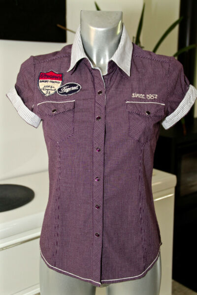 Chequered Shirt Violet short Sleeves Woman Kaporal Model Tommy SIZE S $27.25