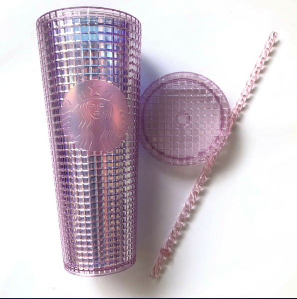 Starbucks Tumbler Holiday 2020 Pink Grid Disco Bling Cold Cup 24 oz