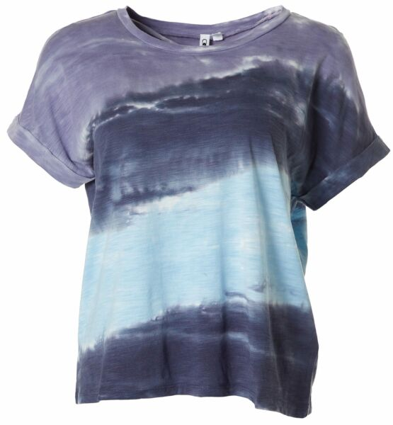 Cable amp; Gauge Womens Tie Dye Cuffed Short Sleeve Top