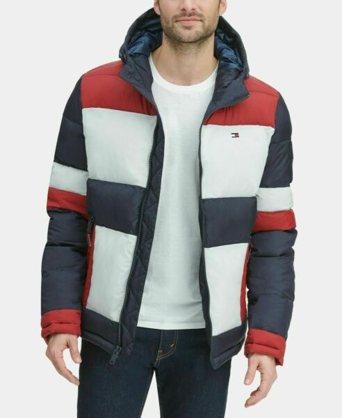 🔥🔥Tommy Hilfiger Midnight Buff Colorblock Striped Quilted Puffer Jacket $250🔥 $100.00