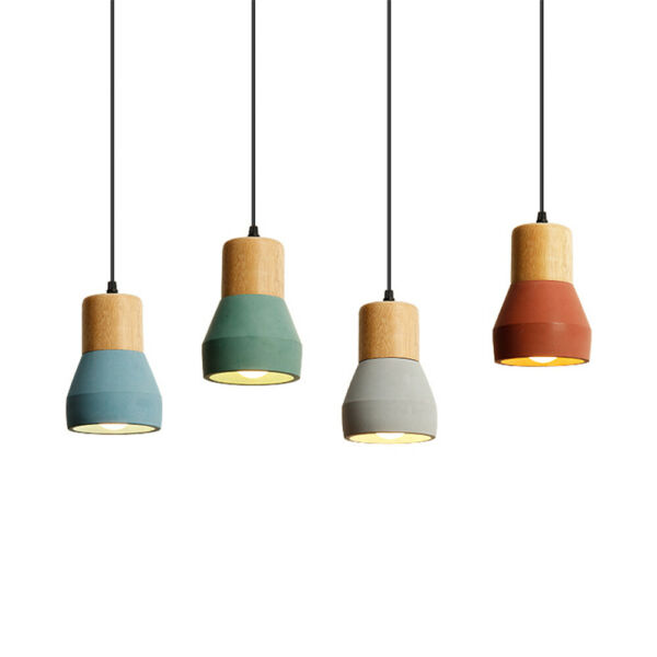 Nordic Style Wood Cement Shade Mini Pendant Lamp Modern Hanging Ceiling Light $49.99