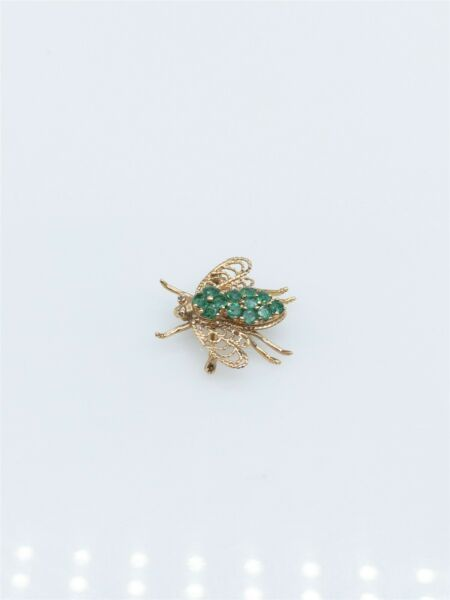 Antique 1960s 2ct Colombian Emerald FLY BEE 10k Yellow Gold PIN