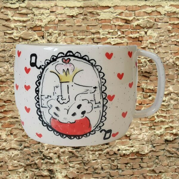 Anthropologie DOG Queen of Hearts Coffee Mug Cup Poodle NEW C $49.95
