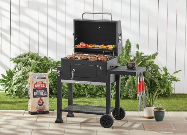 Charcoal Grill Smoker Bbq Portable Cook Wheels Side Rack Patio Grill Thermometer