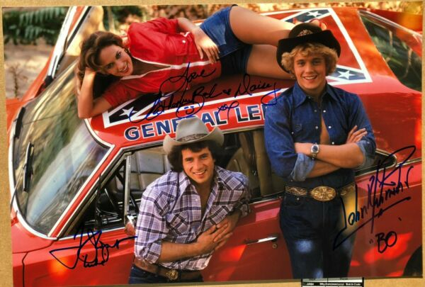 Dukes Of Hazzard Cast X3 Signed 11 x 14 Photo Schneider * Wopat * Bach
