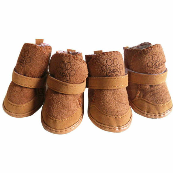 4Pcs Set Pet Shoes Winter Warm Lovely Dog Snow Boots Puppy Sneakers Breathable C $5.51