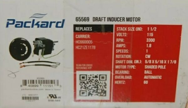 65569 PACKARD DRAFT INDUCER MOTOR $50.25