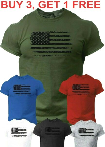 USA Distressed Flag T Shirt Patriotic American Army Tee Shirt