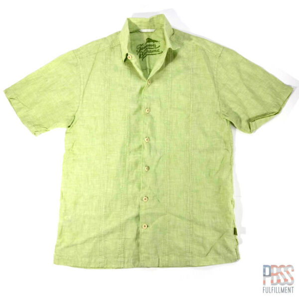Tommy Bahama Mens S Short Sleeve 100% Linen Button Up Shirt Green $16.97