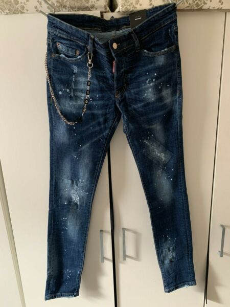 Dsquared2 Men#x27;s Jeans Slim Fit Blue Distressed Jeans All sizes GBP 69.99
