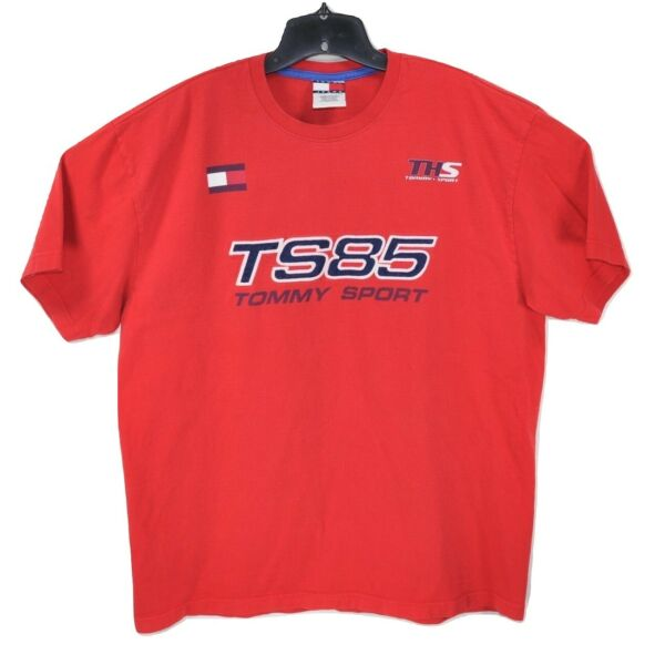 Vintage Tommy Sports Mens Red L Short Sleeve Embroidered T Shirt TS85 Spell Out $24.99