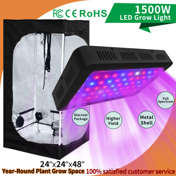 Full Spectrum 1500W LED Grow Light Kit 24#x27;#x27; x 48#x27;#x27; Indoor Grow Tent Plant Box
